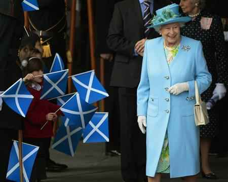 Queen Elizabeth leaves after officially opening the fourth session of the Scottish Parliament in Edinburgh