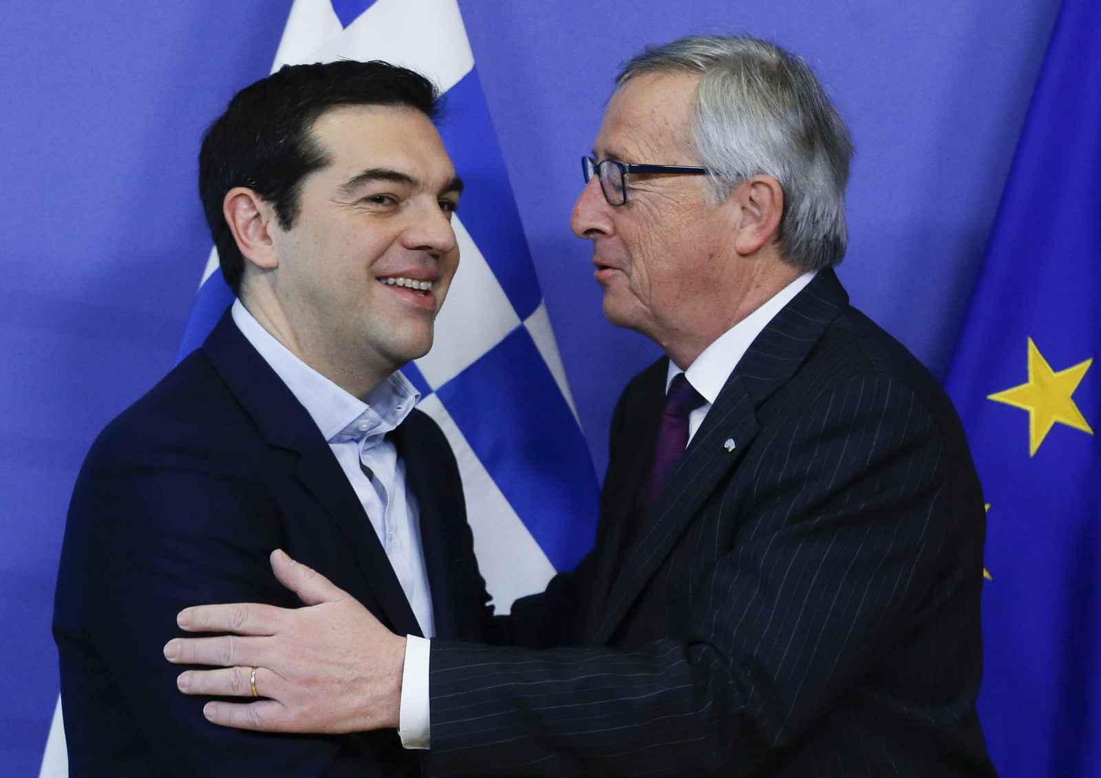 European Commission President Jean Claude Juncker welcomes Greek Prime Minister Alexis Tsipras