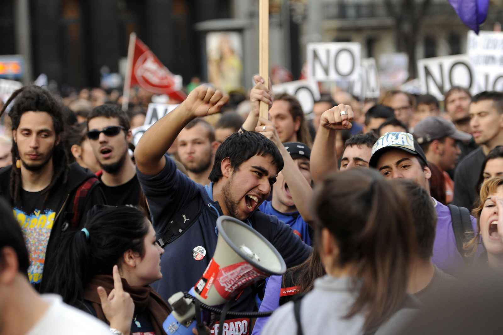 Youngsters shout slogans during a demons