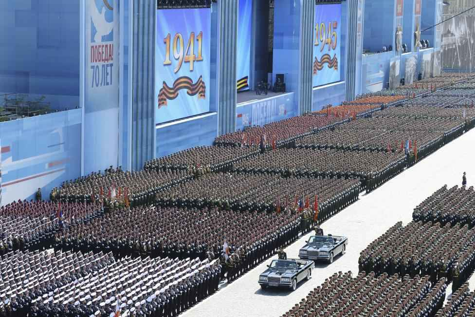 Russian Defence Minister Sergei Shoigu reviews troops during the Victory Day parade at Red Square in Moscow, Russia, May 9, 2015.  REUTERS/Host Photo Agency/RIA Novosti