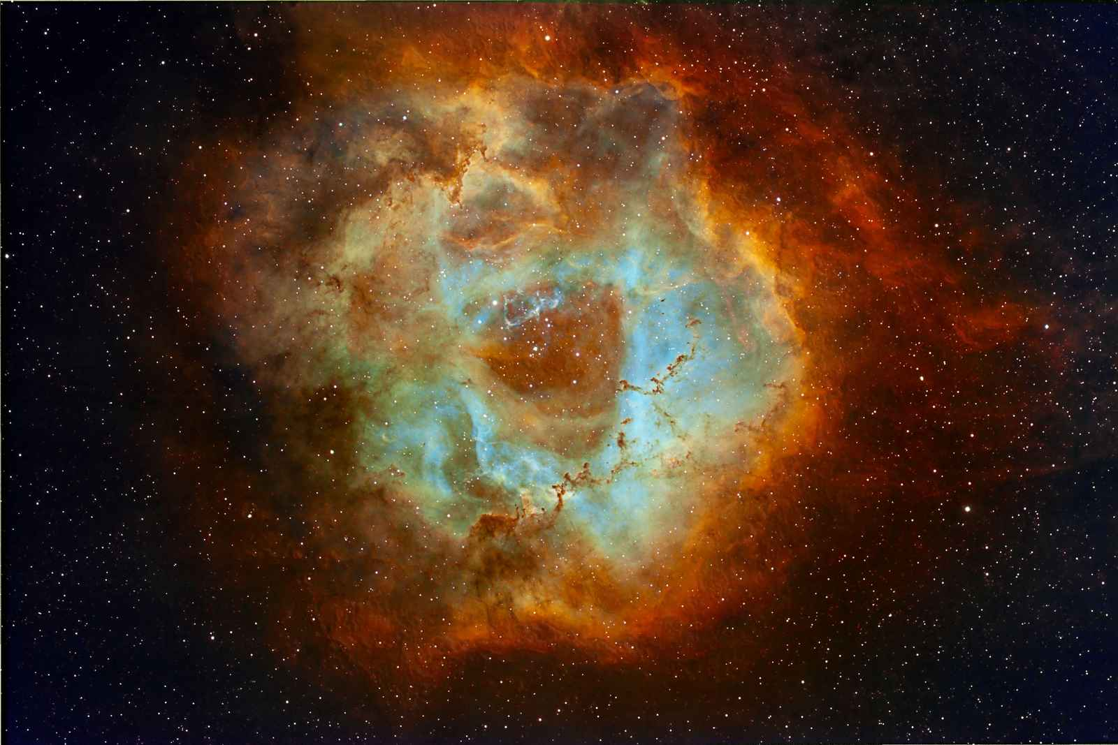 PIC BY ERIC COLES / CATERS NEWS - (PICTURED: Hubble Palette) - This incredible series of photographs were shot from a back garden and show spectacular clouds of gas surrounding stars. Eric Coles, 70, captured the incredible images, which are normally invisible to the naked eye, over the course of the last year from his home in Illinois, USA. Using different filters on his five telescopes, he was able to bring out the shapes and patterns created by different gases that have absorbed energy from nearby stars. SEE CATERS COPY