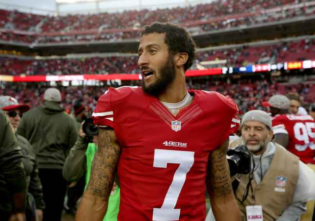 San Francisco 49ers quarterback Colin Kaepernick (7) walks off the field after their NFL game against the Atlanta Falcons at Levi's Stadium in Santa Clara, Calif., on Sunday, Nov. 8, 2015. The 49ers beat the Falcons 17-16.(Jane Tyska/Bay Area News Group)