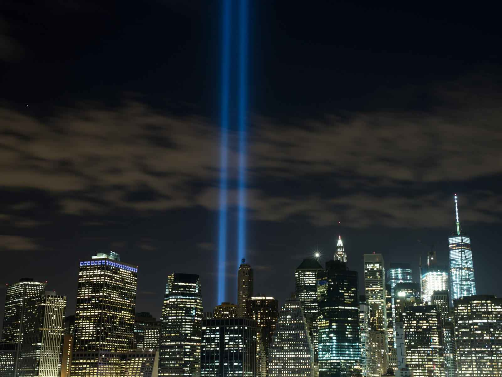 The 'Tribute in Light' rises from the Lower Manhattan skyline as seen from the Brooklyn Heights Promenade, September 7, 2016 in the Brooklyn borough of New York City. The lights were being tested in advance of the 15th anniversary of the September 11 terrorist attacks. (Photo by Drew Angerer/Getty Images)